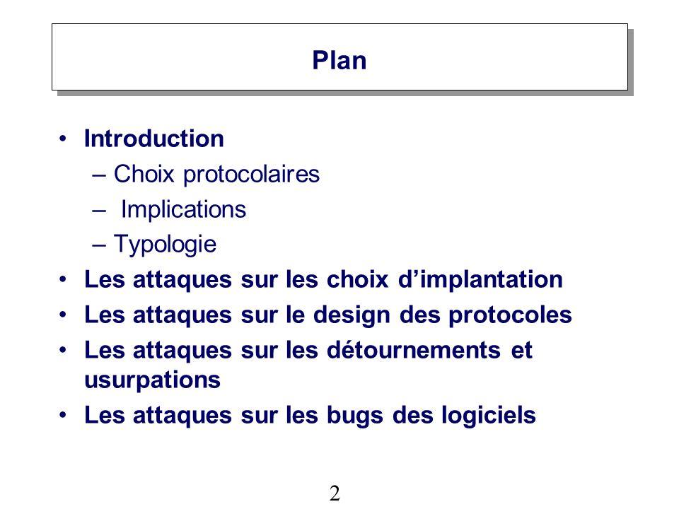 2 Plan Introduction –Choix protocolaires – Implications –Typologie Les attaques sur les choix dimplantation Les attaques sur le design des protocoles Les attaques sur les détournements et usurpations Les attaques sur les bugs des logiciels