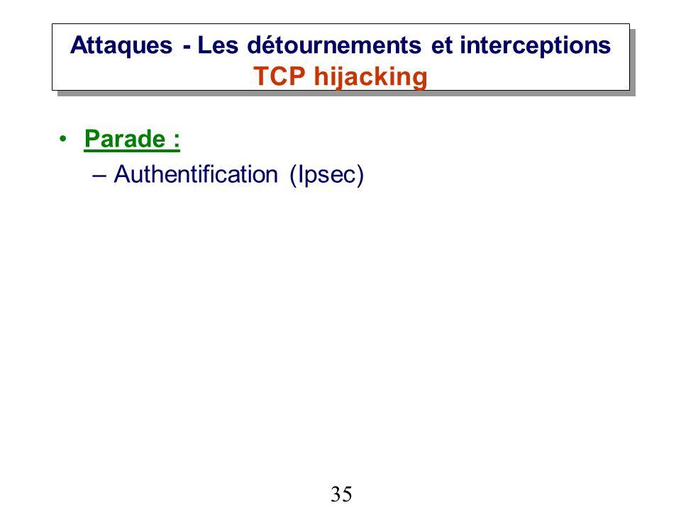 35 Attaques - Les détournements et interceptions TCP hijacking Parade : –Authentification (Ipsec)