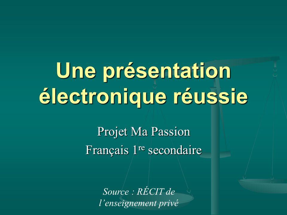 Une présentation électronique réussie Projet Ma Passion Français 1 re secondaire Source : RÉCIT de lenseignement privé