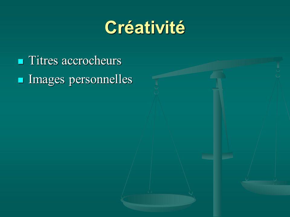 Créativité Titres accrocheurs Titres accrocheurs Images personnelles Images personnelles