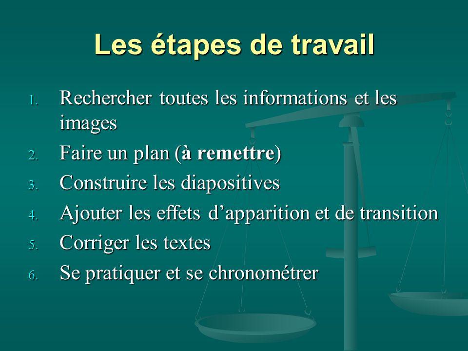 Les étapes de travail 1.Rechercher toutes les informations et les images 2.
