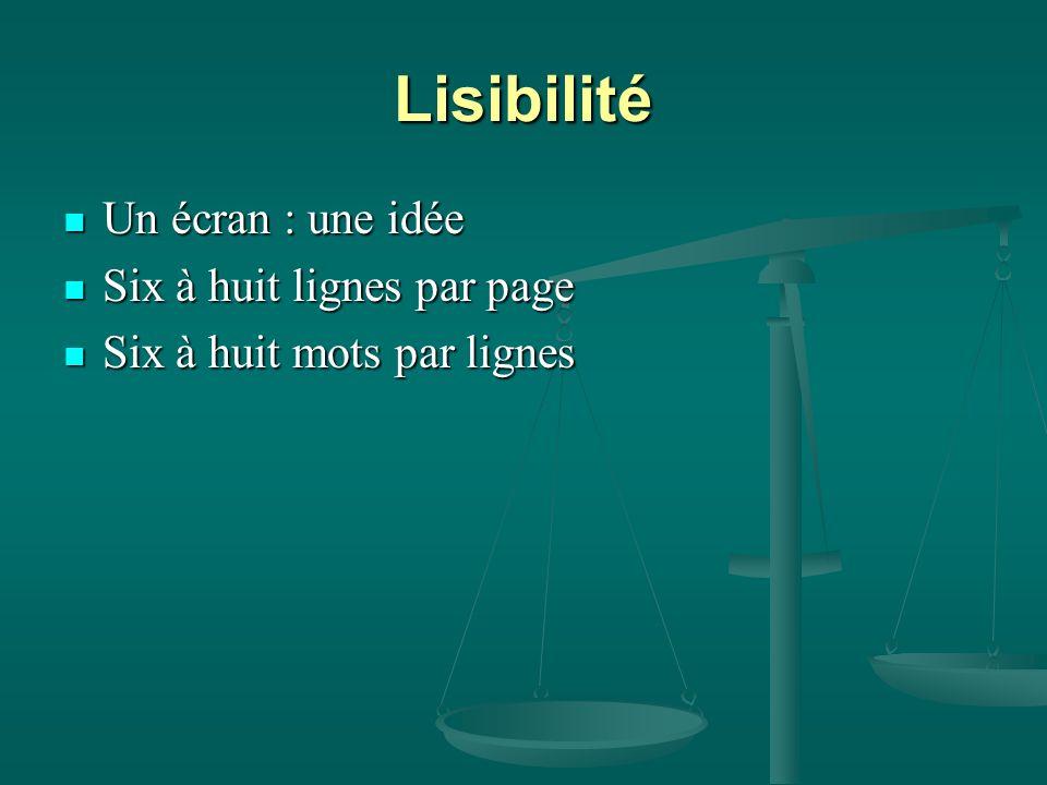 Lisibilité Un écran : une idée Un écran : une idée Six à huit lignes par page Six à huit lignes par page Six à huit mots par lignes Six à huit mots par lignes