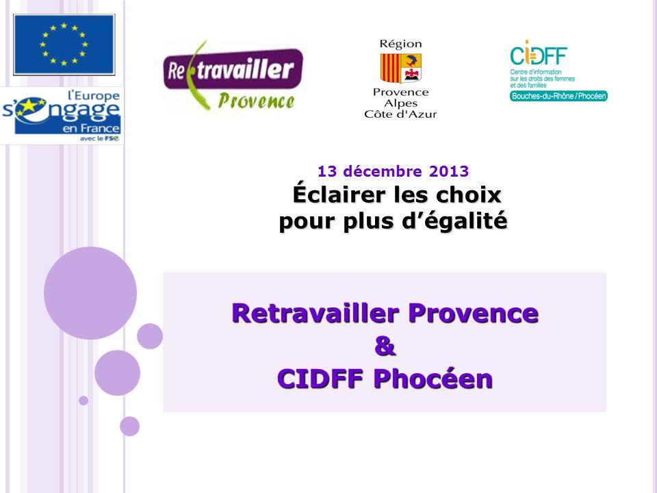 Éclairer les choix pour plus dégalité 13 décembre 2013 Éclairer les choix pour plus dégalité Retravailler Provence & CIDFF Phocéen