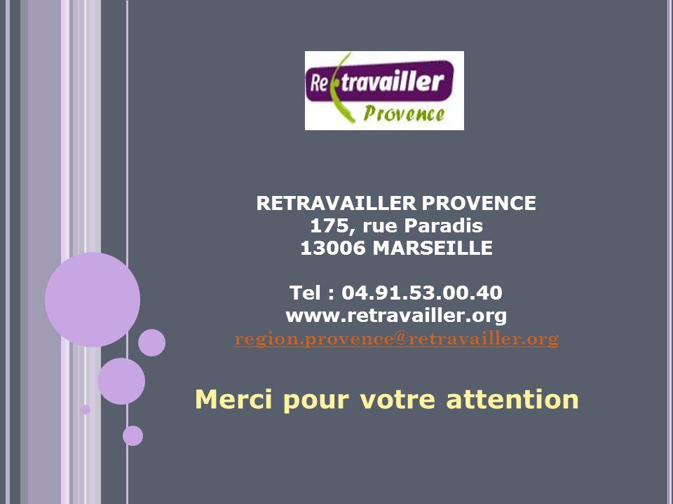 RETRAVAILLER PROVENCE 175, rue Paradis 13006 MARSEILLE Tel : 04.91.53.00.40 www.retravailler.org region.provence@retravailler.org Merci pour votre attention
