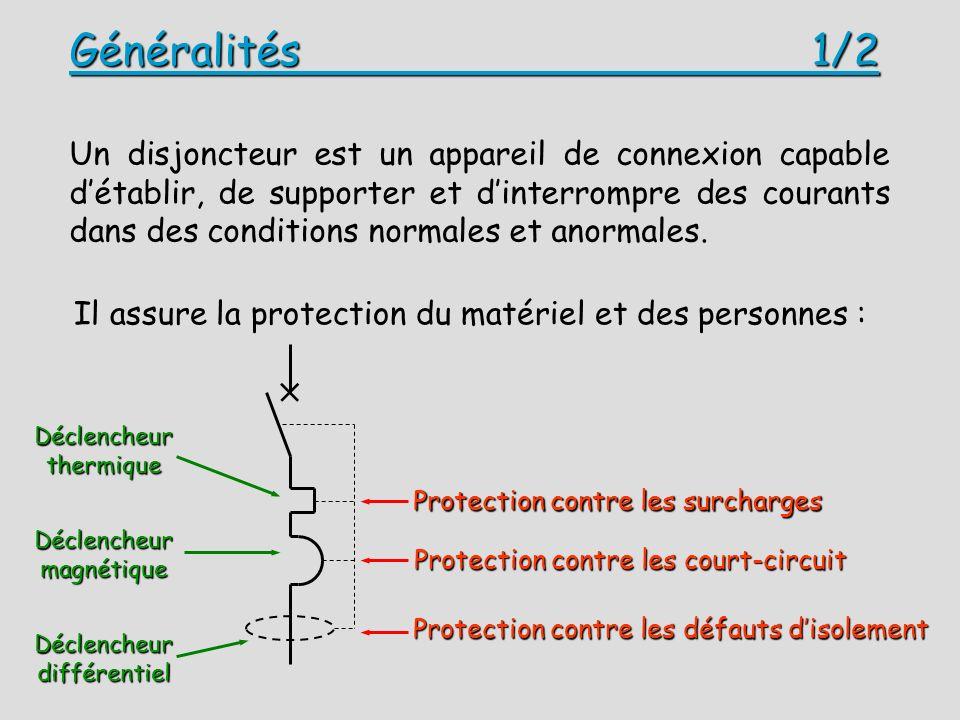 Généralités 1/2 Un disjoncteur est un appareil de connexion capable détablir, de supporter et dinterrompre des courants dans des conditions normales et anormales.