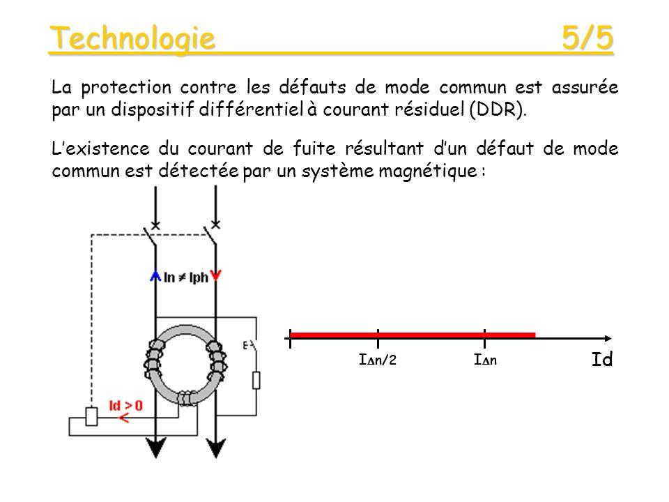 Technologie 5/5 Lexistence du courant de fuite résultant dun défaut de mode commun est détectée par un système magnétique : La protection contre les défauts de mode commun est assurée par un dispositif différentiel à courant résiduel (DDR).
