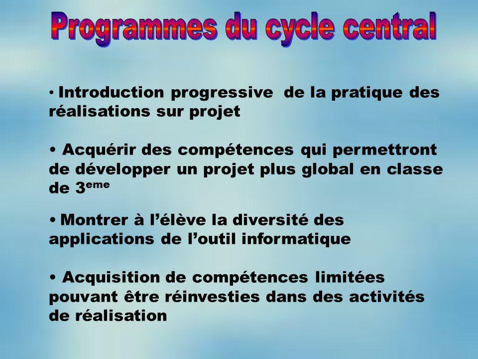 Introduction progressive de la pratique des réalisations sur projet Acquérir des compétences qui permettront de développer un projet plus global en cl