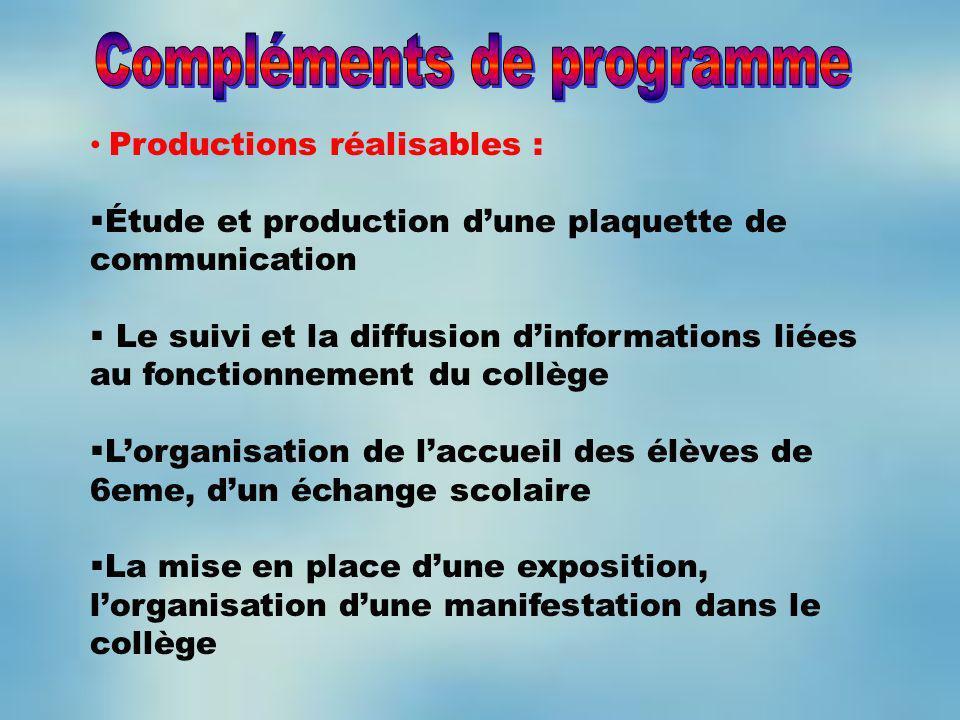 Productions réalisables : Étude et production dune plaquette de communication Le suivi et la diffusion dinformations liées au fonctionnement du collèg