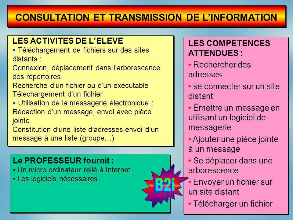 CONSULTATION ET TRANSMISSION DE LINFORMATION LES ACTIVITES DE LELEVE Téléchargement de fichiers sur des sites distants : Connexion, déplacement dans l