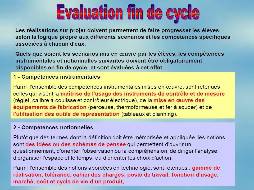 Les réalisations sur projet doivent permettent de faire progresser les élèves selon la logique propre aux différents scénarios et les compétences spéc