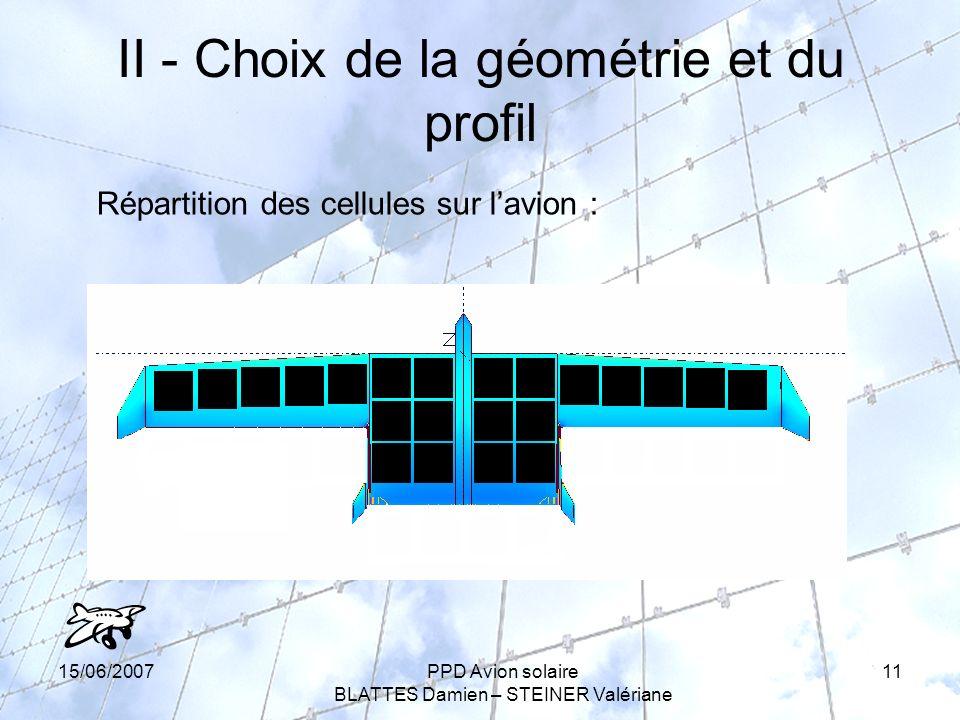 15/06/2007PPD Avion solaire BLATTES Damien – STEINER Valériane 11 II - Choix de la géométrie et du profil Répartition des cellules sur lavion :