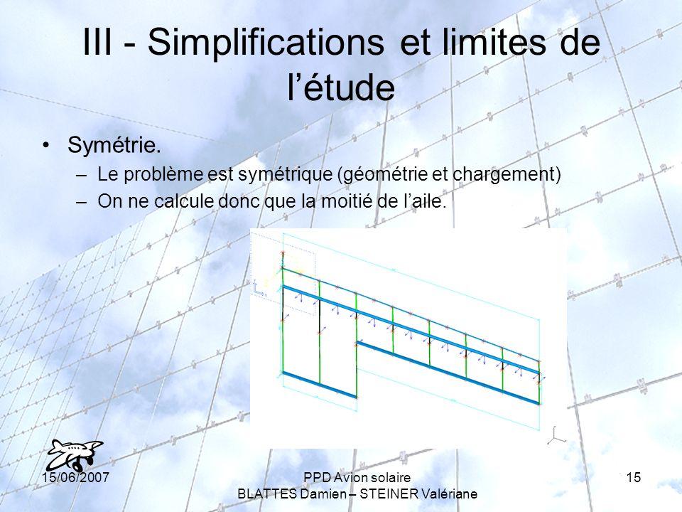 15/06/2007PPD Avion solaire BLATTES Damien – STEINER Valériane 15 III - Simplifications et limites de létude Symétrie.