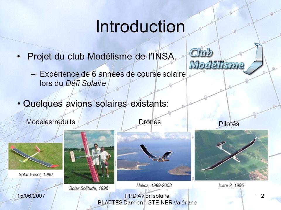 15/06/2007PPD Avion solaire BLATTES Damien – STEINER Valériane 2 Introduction Projet du club Modélisme de lINSA.