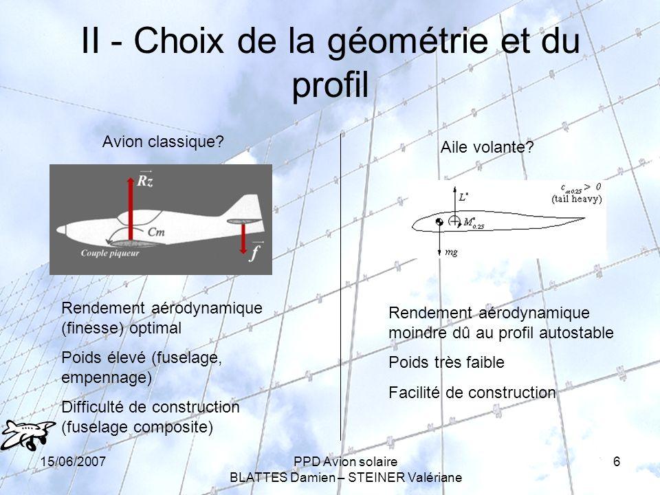 15/06/2007PPD Avion solaire BLATTES Damien – STEINER Valériane 6 II - Choix de la géométrie et du profil Avion classique.