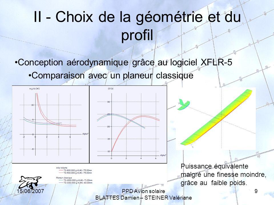 15/06/2007PPD Avion solaire BLATTES Damien – STEINER Valériane 9 II - Choix de la géométrie et du profil Conception aérodynamique grâce au logiciel XFLR-5 Comparaison avec un planeur classique Puissance équivalente malgré une finesse moindre, grâce au faible poids.