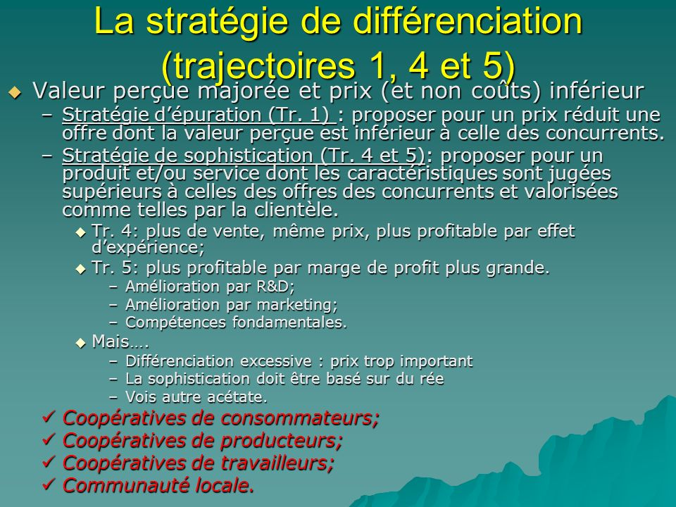 La stratégie de différenciation (trajectoires 1, 4 et 5) Valeur perçue majorée et prix (et non coûts) inférieur Valeur perçue majorée et prix (et non