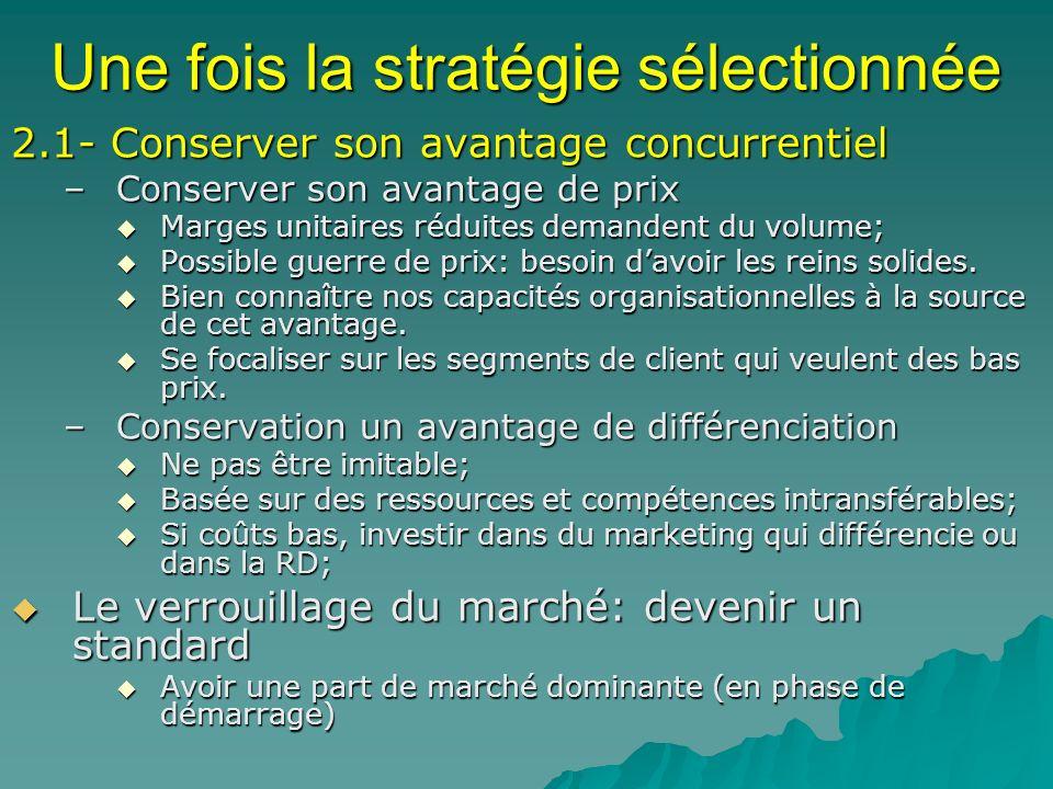 Une fois la stratégie sélectionnée 2.1- Conserver son avantage concurrentiel –Conserver son avantage de prix Marges unitaires réduites demandent du vo
