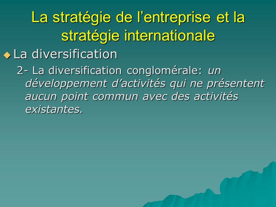 La stratégie de lentreprise et la stratégie internationale La diversification La diversification 2- La diversification conglomérale: un développement