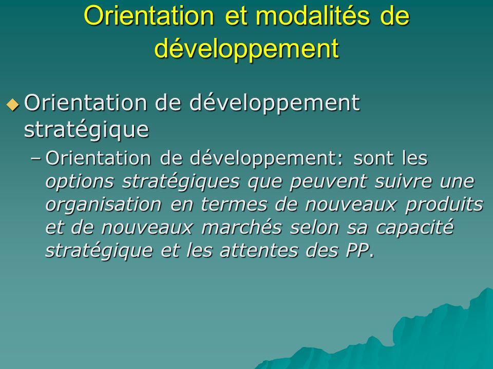 Orientation et modalités de développement Orientation de développement stratégique Orientation de développement stratégique –Orientation de développem