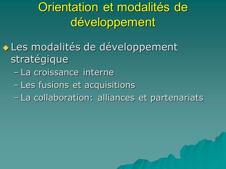 Orientation et modalités de développement Les modalités de développement stratégique Les modalités de développement stratégique –La croissance interne