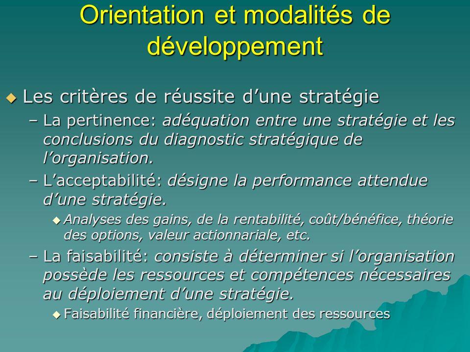 Orientation et modalités de développement Les critères de réussite dune stratégie Les critères de réussite dune stratégie –La pertinence: adéquation e