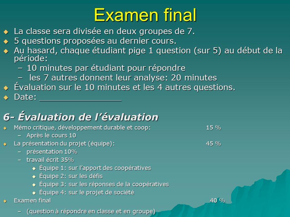 Examen final La classe sera divisée en deux groupes de 7. La classe sera divisée en deux groupes de 7. 5 questions proposées au dernier cours. 5 quest