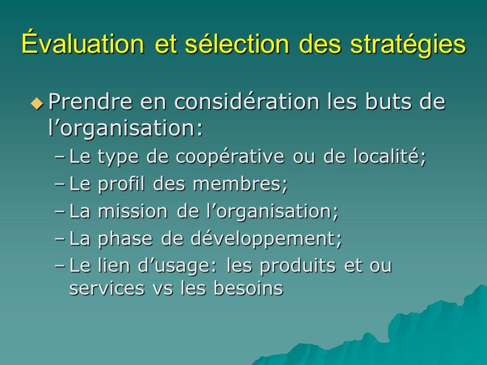Évaluation et sélection des stratégies Prendre en considération les buts de lorganisation: Prendre en considération les buts de lorganisation: –Le typ