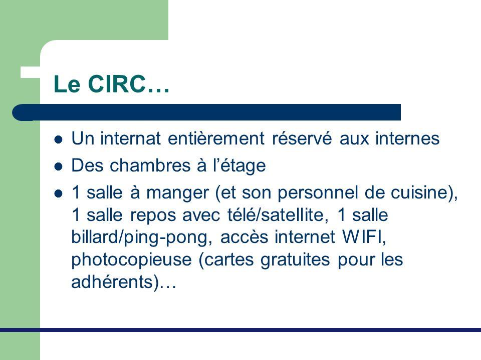 Le CIRC… Un internat entièrement réservé aux internes Des chambres à létage 1 salle à manger (et son personnel de cuisine), 1 salle repos avec télé/sa