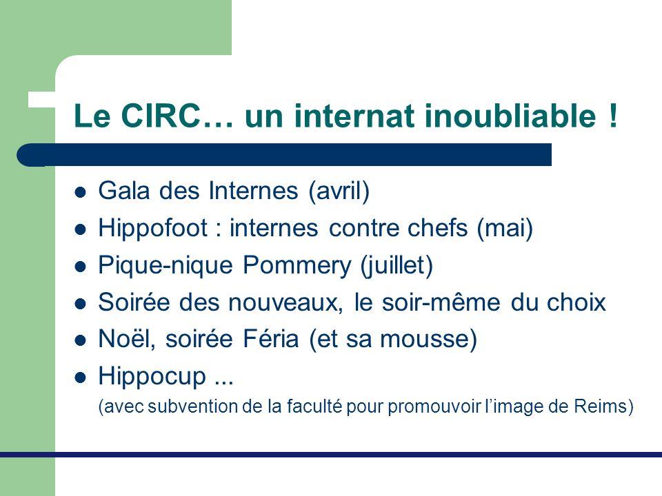 Le CIRC… un internat inoubliable ! Gala des Internes (avril) Hippofoot : internes contre chefs (mai) Pique-nique Pommery (juillet) Soirée des nouveaux