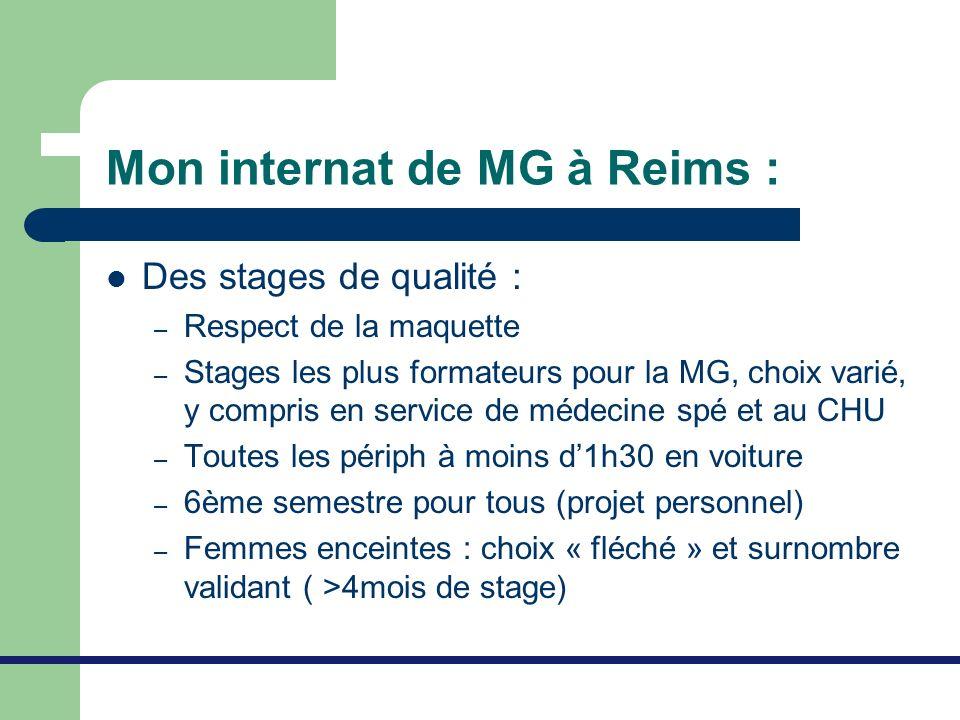 Mon internat de MG à Reims : Des stages de qualité : – Respect de la maquette – Stages les plus formateurs pour la MG, choix varié, y compris en servi