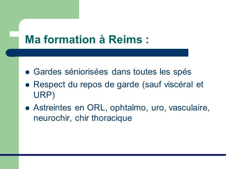 Ma formation à Reims : Gardes séniorisées dans toutes les spés Respect du repos de garde (sauf viscéral et URP) Astreintes en ORL, ophtalmo, uro, vasc
