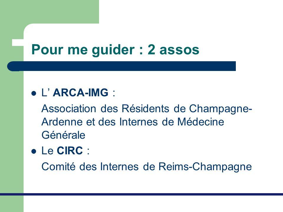 Pour me guider : 2 assos L ARCA-IMG : Association des Résidents de Champagne- Ardenne et des Internes de Médecine Générale Le CIRC : Comité des Intern