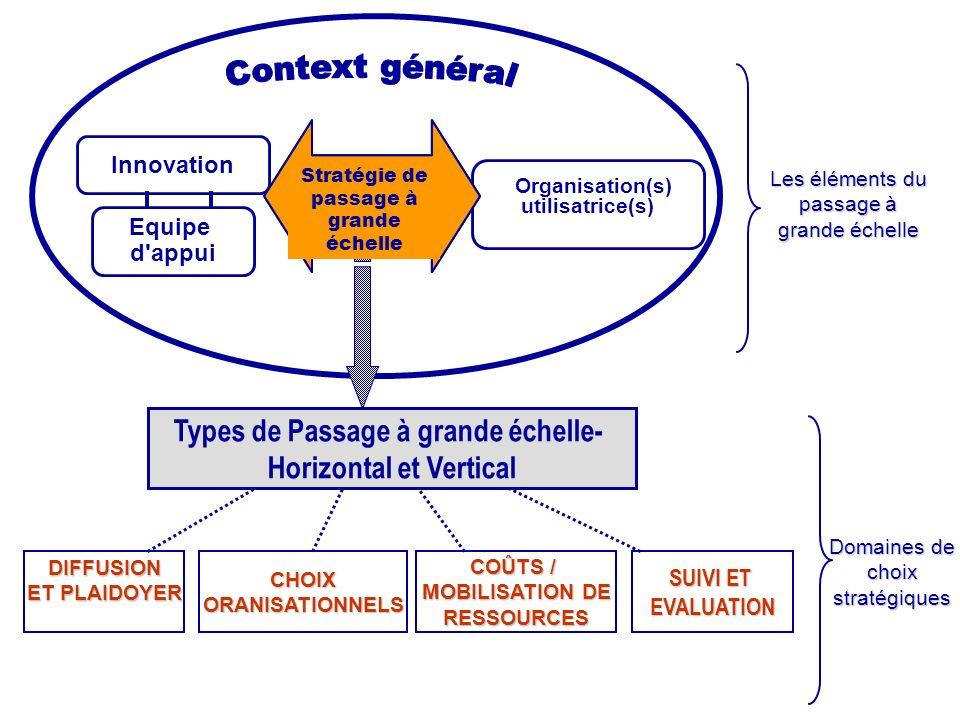 Innovation Organisation(s) utilisatrice(s) Equipe d'appui CHOIXORANISATIONNELS COÛTS / MOBILISATION DE RESSOURCES SUIVI ET EVALUATION Types de Passage