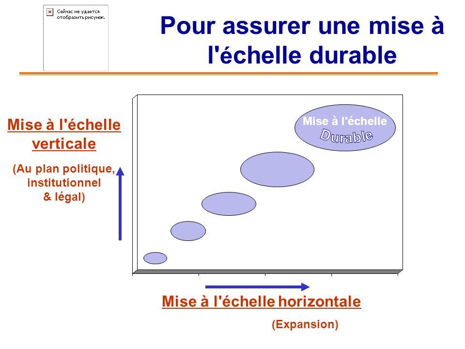Pour assurer une mise à l' é chelle durable Mise à l'échelle horizontale (Expansion) Mise à l'échelle verticale (Au plan politique, institutionnel & l