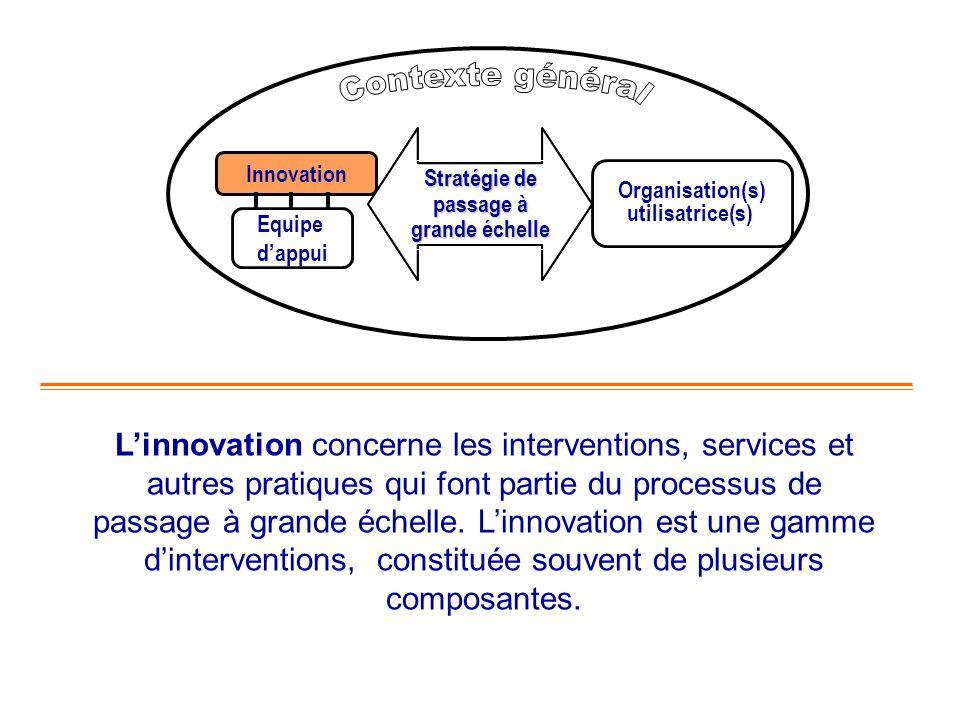 Innovation Organisation(s) utilisatrice(s) Equipe dappui Stratégie de passage à grande échelle Linnovation concerne les interventions, services et aut