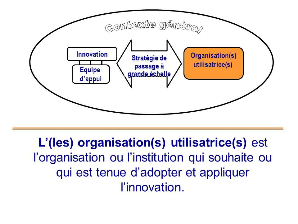 Innovation Organisation(s) utilisatrice(s) Equipe dappui L(les) organisation(s) utilisatrice(s) est lorganisation ou linstitution qui souhaite ou qui