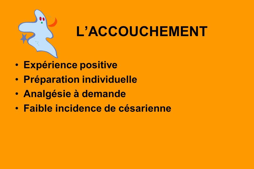 LACCOUCHEMENT Expérience positive Préparation individuelle Analgésie à demande Faible incidence de césarienne