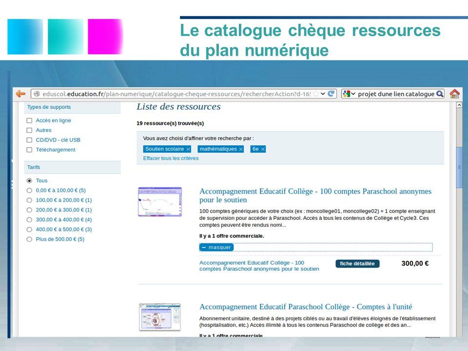 Le catalogue chèque ressources du plan numérique