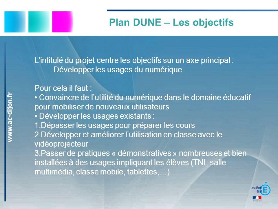 Lintitulé du projet centre les objectifs sur un axe principal : Développer les usages du numérique.