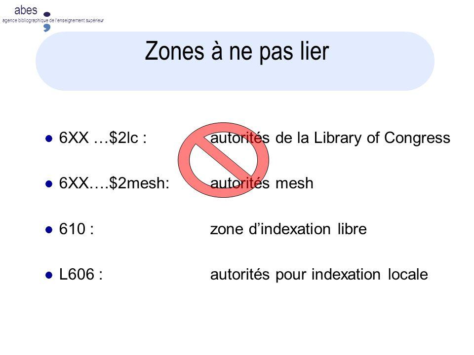 abes agence bibliographique de lenseignement supérieur Zones à ne pas lier 6XX …$2lc :autorités de la Library of Congress 6XX….$2mesh:autorités mesh 610 : zone dindexation libre L606 : autorités pour indexation locale