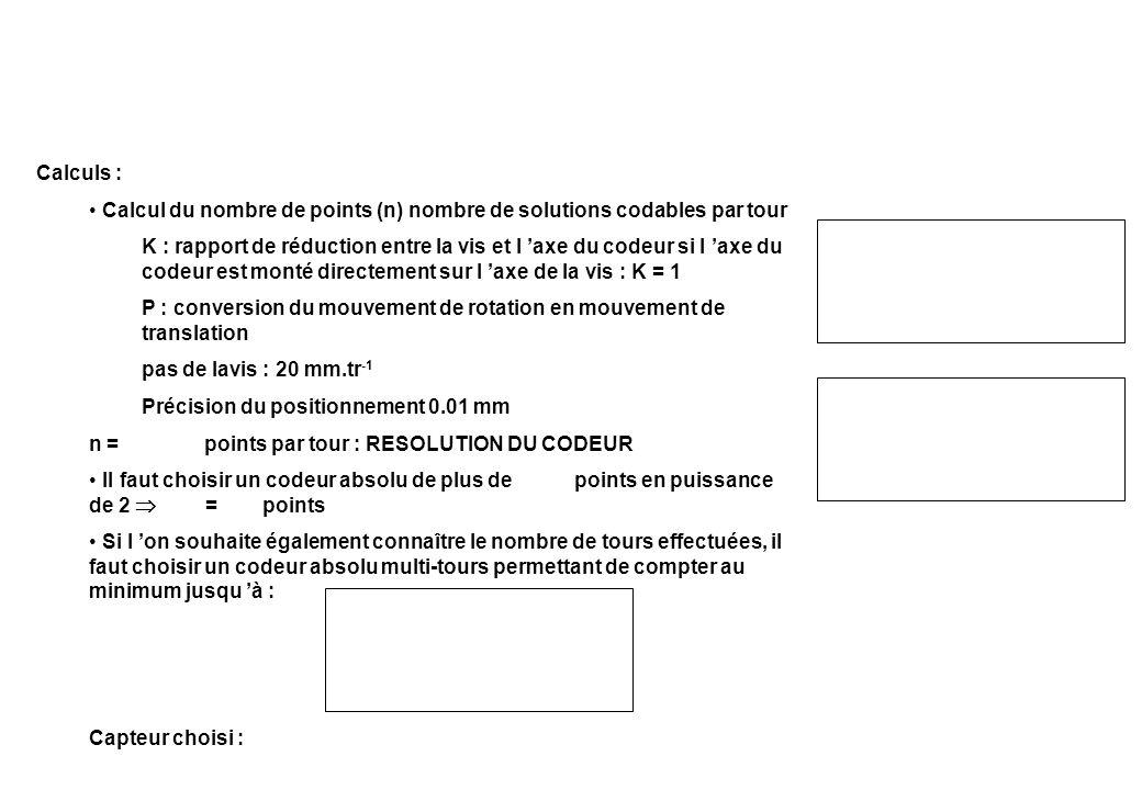 Calculs : Calcul du nombre de points (n) nombre de solutions codables par tour K : rapport de réduction entre la vis et l axe du codeur si l axe du co
