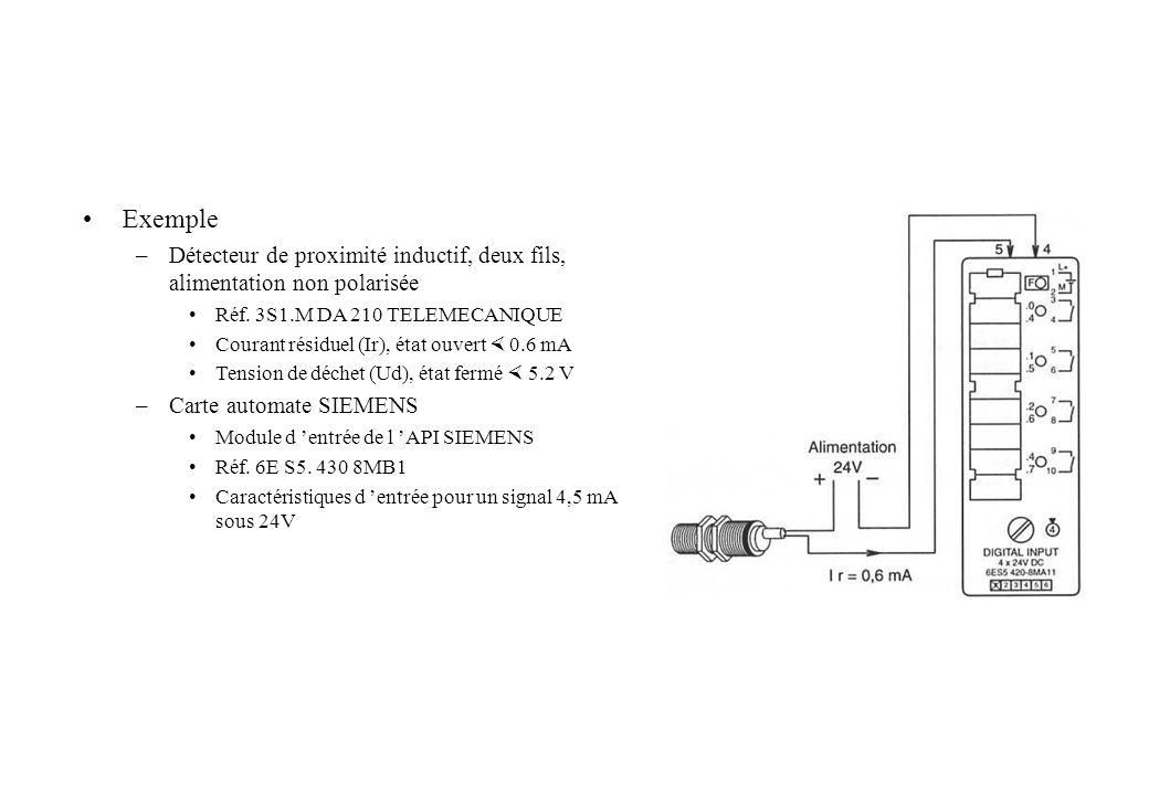 Exemple –Détecteur de proximité inductif, deux fils, alimentation non polarisée Réf. 3S1.M DA 210 TELEMECANIQUE Courant résiduel (Ir), état ouvert 0.6