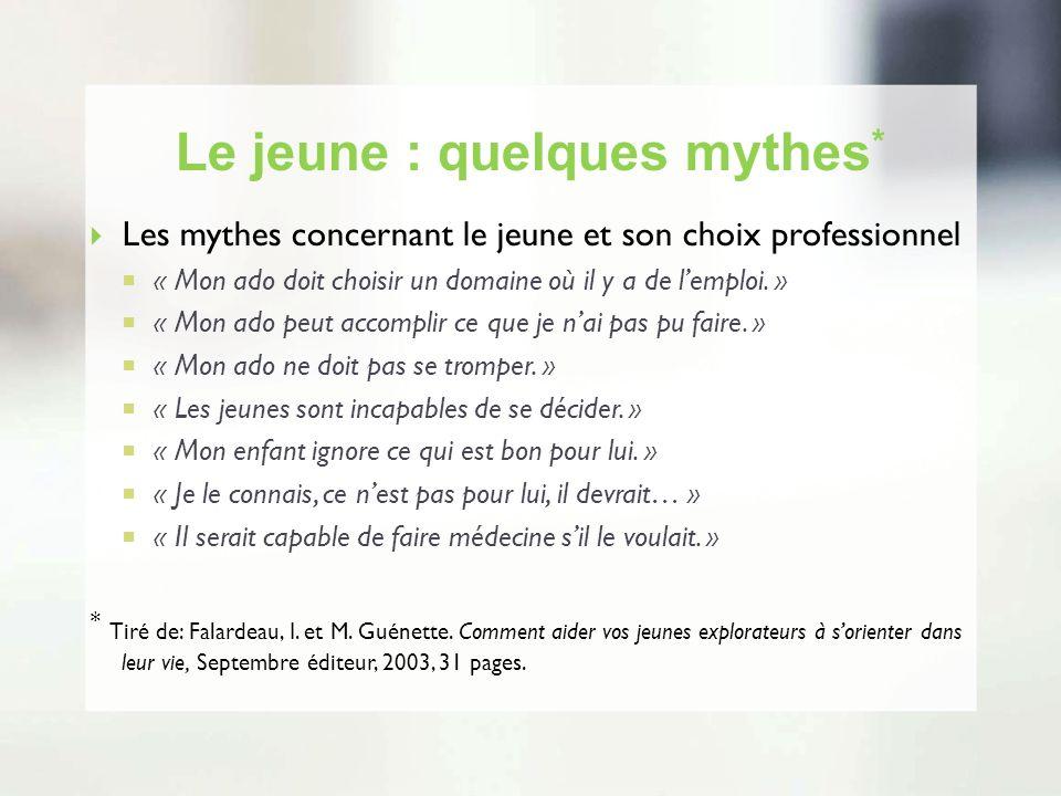 Le jeune : quelques mythes * Les mythes concernant le jeune et son choix professionnel « Mon ado doit choisir un domaine où il y a de lemploi. » « Mon