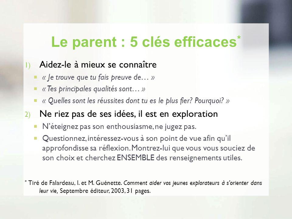 Le parent : 5 clés efficaces * 1) Aidez-le à mieux se connaître « Je trouve que tu fais preuve de… » « Tes principales qualités sont… » « Quelles sont
