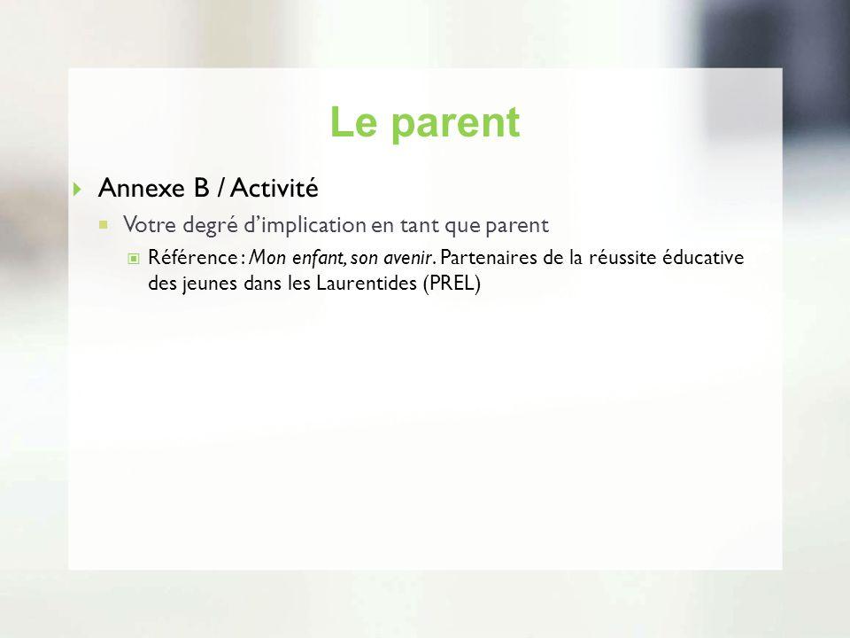 Le parent Annexe B / Activité Votre degré dimplication en tant que parent Référence : Mon enfant, son avenir. Partenaires de la réussite éducative des