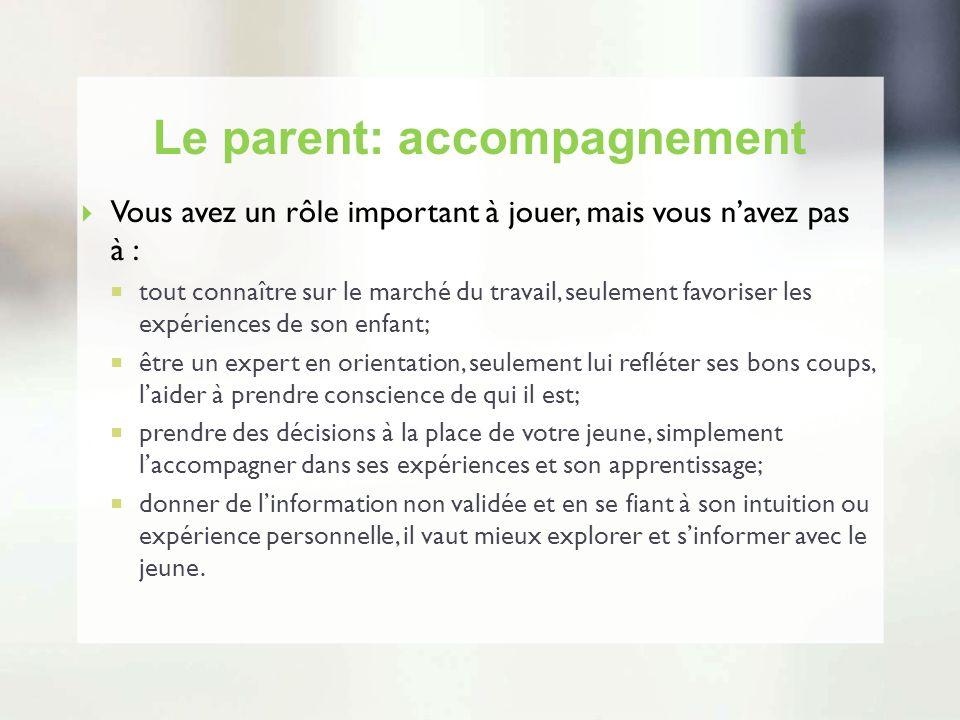 Le parent: accompagnement Vous avez un rôle important à jouer, mais vous navez pas à : tout connaître sur le marché du travail, seulement favoriser le