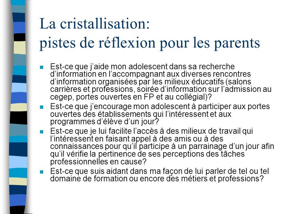 Cristallisation n Cette étape correspond à létape de la compréhension.