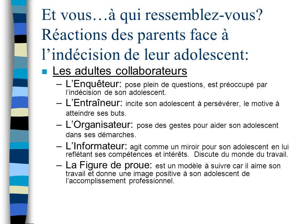 Et vous…à qui ressemblez-vous? Réactions des parents face à lindécision de leur adolescent: n Les adultes récalcitrants –Le Décrocheur: est dépassé pa