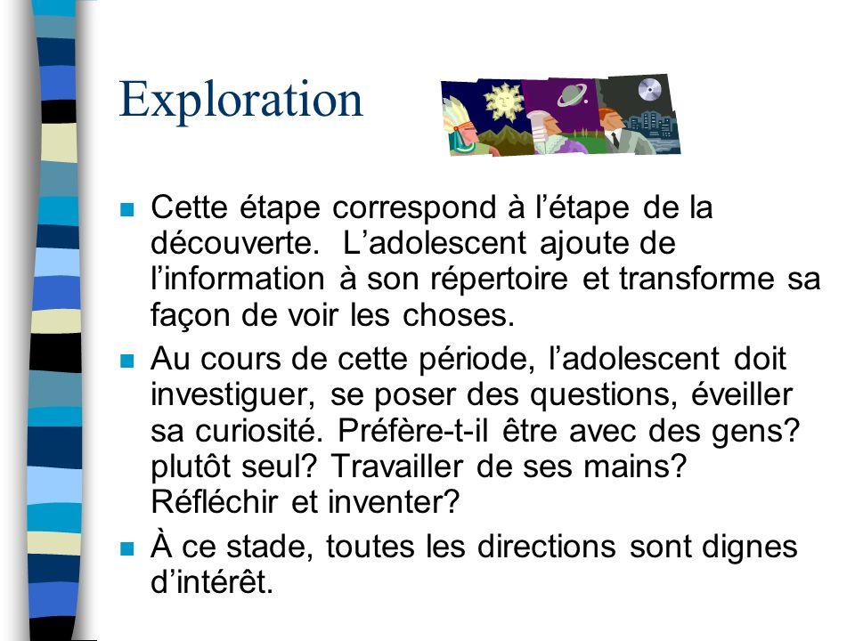Exploration n Cette étape correspond à létape de la découverte.
