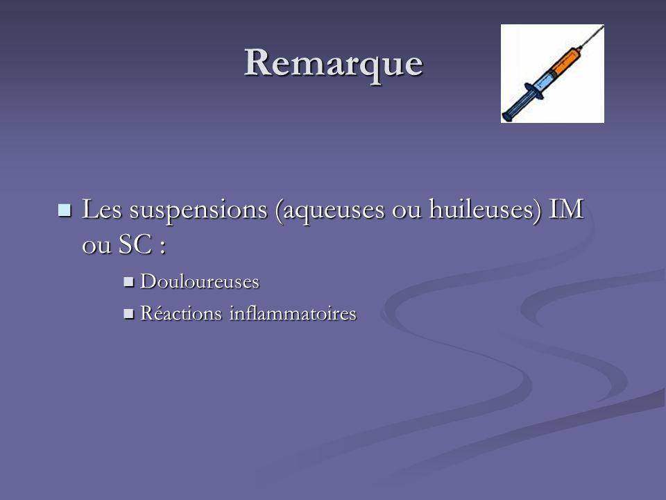 Remarque Les suspensions (aqueuses ou huileuses) IM ou SC : Les suspensions (aqueuses ou huileuses) IM ou SC : Douloureuses Douloureuses Réactions inf